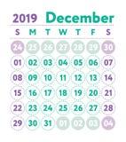 Ημερολόγιο 2019 Διανυσματικό αγγλικό ημερολόγιο Μήνας Δεκεμβρίου Sta εβδομάδας ελεύθερη απεικόνιση δικαιώματος