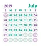 Ημερολόγιο 2019 Διανυσματικό αγγλικό ημερολόγιο Μήνας Ιουλίου Ενάρξεις εβδομάδας διανυσματική απεικόνιση
