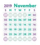 Ημερολόγιο 2019 Διανυσματικό αγγλικό ημερολόγιο Μήνας Νοεμβρίου Sta εβδομάδας απεικόνιση αποθεμάτων
