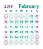Ημερολόγιο 2019 Διανυσματικό αγγλικό ημερολόγιο Μήνας Φεβρουαρίου Sta εβδομάδας απεικόνιση αποθεμάτων