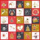 Ημερολόγιο εμφάνισης Χριστουγέννων Αφίσα χειμερινών διακοπών στοκ φωτογραφίες