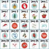 Ημερολόγιο εμφάνισης Χριστουγέννων Συρμένοι χέρι στοιχεία και αριθμοί Τις ημερολογιακές κάρτες χειμερινών διακοπών καθορισμένες τ Στοκ φωτογραφία με δικαίωμα ελεύθερης χρήσης