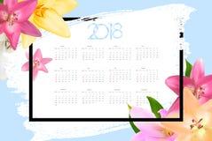 Ημερολόγιο 2018 Ενάρξεις εβδομάδας από την Κυριακή επίσης corel σύρετε το διάνυσμα απεικόνισης Στοκ Φωτογραφίες