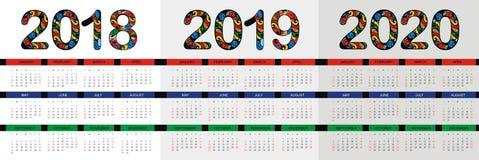Ημερολόγιο 2019 2020, επιχειρησιακό πρότυπο Στοκ εικόνα με δικαίωμα ελεύθερης χρήσης