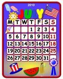 ημερολόγιο Ιούλιος του 2010 πατριωτικός διανυσματική απεικόνιση