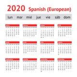 Ημερολόγιο 2020 Ισπανία Ευρωπαϊκό ισπανικό ημερολόγιο στοκ εικόνες