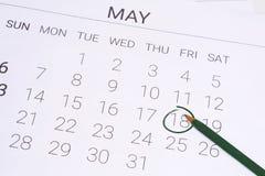 Ημερολόγιο Μαΐου με τη μάνδρα Στοκ Φωτογραφίες