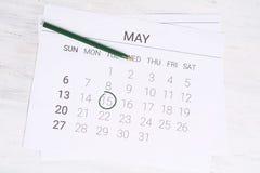 Ημερολόγιο Μαΐου με τη μάνδρα Στοκ Φωτογραφία