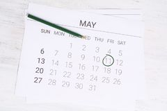 Ημερολόγιο Μαΐου με τη μάνδρα Στοκ Εικόνες