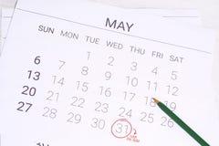 Ημερολόγιο Μαΐου με τη μάνδρα Στοκ εικόνα με δικαίωμα ελεύθερης χρήσης