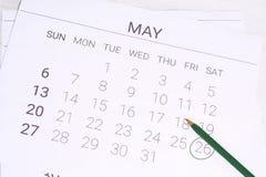 Ημερολόγιο Μαΐου με τη μάνδρα Στοκ φωτογραφίες με δικαίωμα ελεύθερης χρήσης