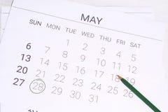 Ημερολόγιο Μαΐου με τη μάνδρα Στοκ Εικόνα