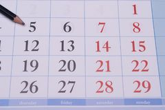 Ημερολόγιο με ένα μαύρο μολύβι Στοκ φωτογραφίες με δικαίωμα ελεύθερης χρήσης