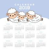 Ημερολόγιο 2019 με τα χαριτωμένα κινούμενα σχέδια προβάτων διανυσματική απεικόνιση