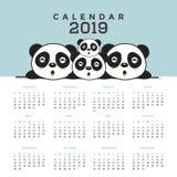 Ημερολόγιο 2019 με τα χαριτωμένα pandas διανυσματική απεικόνιση