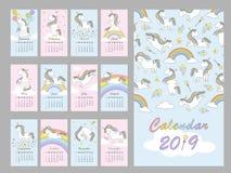 Ημερολόγιο 2019 με το μαγικό χαριτωμένο μονόκερο επίσης corel σύρετε το διάνυσμα απεικόνισης απεικόνιση αποθεμάτων