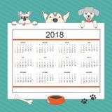 Ημερολόγιο παιδιών με τα αστεία σκυλιά κινούμενων σχεδίων για το έτος 2018 τοίχων Στοκ εικόνες με δικαίωμα ελεύθερης χρήσης