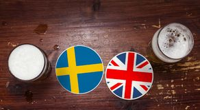 Ημερολόγιο προημιτελικού Παγκόσμιου Κυπέλλου 2018, υπόβαθρο ιπτάμενων έννοιας χαλιών μπύρας Γερμανία Σουηδία εναντίον Αγγλία στοκ φωτογραφία με δικαίωμα ελεύθερης χρήσης