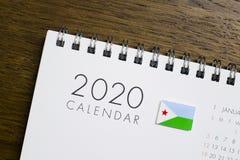 Ημερολόγιο σημαιών του Τζιμπουτί το 2020 στοκ εικόνες με δικαίωμα ελεύθερης χρήσης