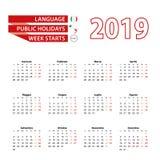 Ημερολόγιο 2019 στα ιταλικά γλώσσα με τις επίσημες αργίες η αρίθμηση