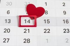 Ημερολόγιο στην ημέρα βαλεντίνων Στοκ Φωτογραφία