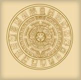 Ημερολόγιο της Maya των των Μάγια ή των Αζτέκων hieroglyph σημαδιών διανυσματική απεικόνιση