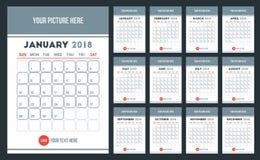 Ημερολόγιο τοίχων γραφείων 2018 στο απλό επίπεδο κομψό πρότυπο σχεδίου ελεύθερη απεικόνιση δικαιώματος