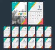 ημερολόγιο του 2019 Πρότυπο ημερολογιακού σύγχρονου σχεδίου γραφείων με τη θέση φ απεικόνιση αποθεμάτων
