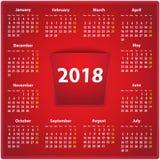 ημερολόγιο του 2018 στο κόκκινο δέρμα απεικόνιση αποθεμάτων
