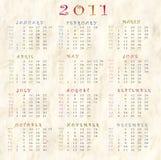 ημερολόγιο του 2011 διανυσματική απεικόνιση