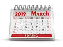 Ημερολόγιο - το Μάρτιο του 2019 απεικόνιση αποθεμάτων