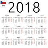 Ημερολόγιο 2018, τσέχικα, Δευτέρα Στοκ Εικόνες