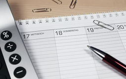 ημερολόγιο υπολογιστώ& Στοκ Φωτογραφία