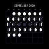 Ημερολόγιο φάσεων φεγγαριών για το έτος του 2020 Σεπτέμβριος Σχέδιο υποβάθρου νύχτας r διανυσματική απεικόνιση