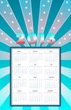 Ημερολόγιο 2013 με τις ακτίνες και τα αστέρια. ελεύθερη απεικόνιση δικαιώματος