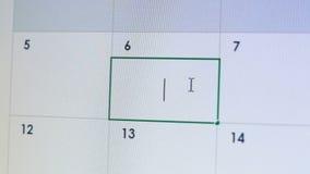Ημερομηνία δακτυλογράφησης προσώπων στο σε απευθείας σύνδεση ημερολόγιο, υπενθύμιση της προσωπικής συνεδρίασης, ερωτικός δεσμός απόθεμα βίντεο