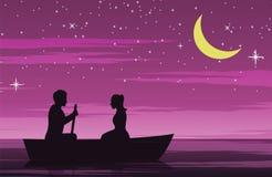 Ημερομηνία ζεύγους με τη βάρκα σειρών, ρόδινος τόνος χρώματος, σχέδιο σκιαγραφιών διανυσματική απεικόνιση