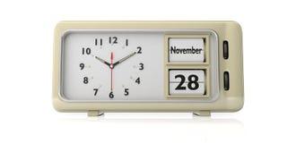 Ημερομηνία ημέρας των ευχαριστιών 2019, στις 28 Νοεμβρίου σε ένα αναδρομικό ξυπνητήρι που απομονώνεται στο άσπρο υπόβαθρο τρισδιά απεικόνιση αποθεμάτων
