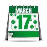 Ημερομηνία διακοπών στο ημερολόγιο 17 Μαρτίου εορτασμός ημέρα patricks ST Στοκ Εικόνες