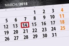 Ημερομηνία 14 Μαρτίου μήνα έτους 2018 ημερολογιακών σελίδων Στοκ Εικόνες
