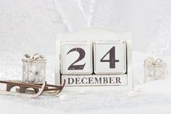 Ημερομηνία Παραμονής Χριστουγέννων στο ημερολόγιο 24 Δεκεμβρίου Στοκ Φωτογραφίες