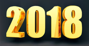 Ημερομηνία 2018 σε ένα μαύρο υπόβαθρο στο τρισδιάστατο σχήμα Χρυσό λάμποντας έμβλημα καλής χρονιάς του 2018 επίσης corel σύρετε τ Στοκ Εικόνες