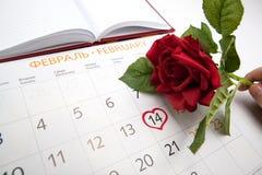 Ημερομηνία συνοδειών ατόμων στο ημερολόγιο Στοκ Εικόνα