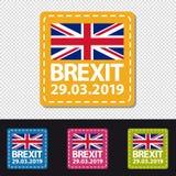 Ημερομηνία Brexit 2019 - τέσσερα ζωηρόχρωμα τετραγωνικά κουμπιά - διανυσματική απεικόνιση - που απομονώνεται στο διαφανές υπόβαθρ διανυσματική απεικόνιση