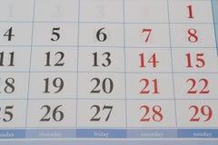 Ημερομηνίες για έναν μήνα Στοκ φωτογραφίες με δικαίωμα ελεύθερης χρήσης