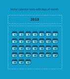 Ημερολογιακά εικονίδια με τις ημέρες του μήνα διανυσματική απεικόνιση