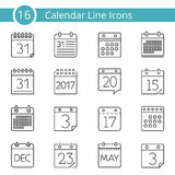 16 ημερολογιακά εικονίδια Στοκ εικόνες με δικαίωμα ελεύθερης χρήσης