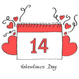 Ημερολογιακή σελίδα ημέρας βαλεντίνων με τις καρδιές Στοκ Εικόνα