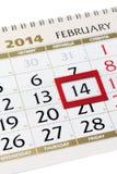 Ημερολογιακή σελίδα με το κόκκινο πλαίσιο στις 14 Φεβρουαρίου 2014. Στοκ Εικόνες