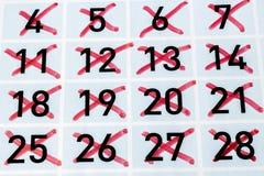 Ημερολογιακή σελίδα με όλες τις ημέρες strikethrough Στοκ φωτογραφία με δικαίωμα ελεύθερης χρήσης